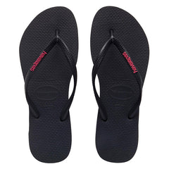 HAVAIANAS SLIM RUBBER LOGO ADULTS - BLACK PINK
