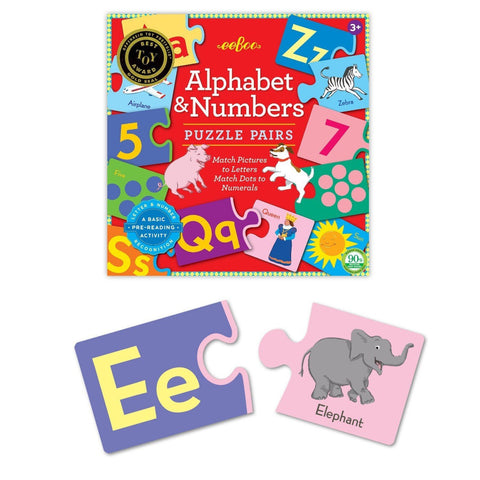 alphabet & numbers puzzle pairs-puzzles-eeBoo Toys & Gifts-Dilly Dally Kids