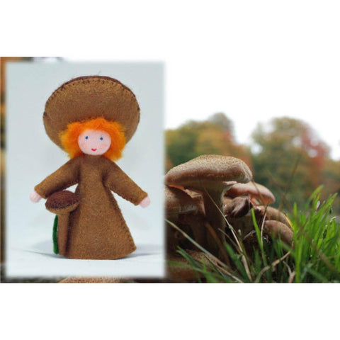 Ambrosius felt doll holding a brown mushroom-people, animals & lands-Ambrosius-Dilly Dally Kids