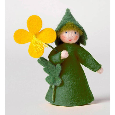 Ambrosius wool felt doll holding celandine flower-people, animals & lands-Ambrosius-Dilly Dally Kids