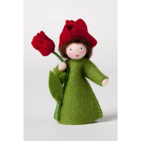 Ambrosius felt doll holding red tulip-people, animals & lands-Ambrosius-Dilly Dally Kids