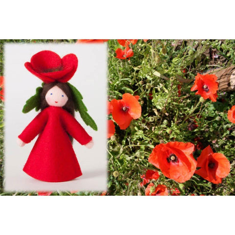 Ambrosius felt doll red poppy-people, animals & lands-Ambrosius-Dilly Dally Kids