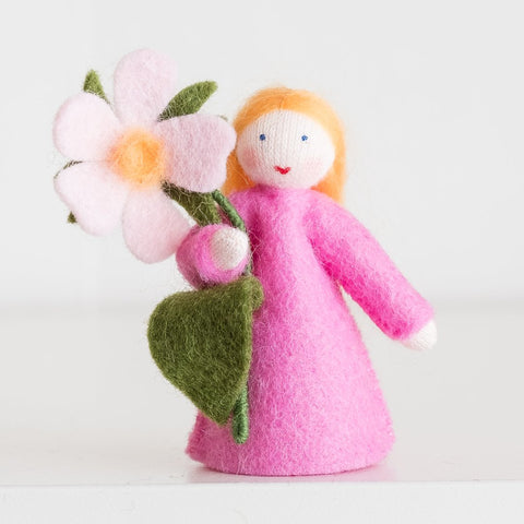 Ambrosius felt doll sweet briar holding pink flowers-people, animals & lands-Ambrosius-Dilly Dally Kids