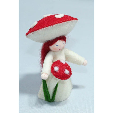 Ambrosius wool felt doll girl with mushroom-people, animals & lands-Ambrosius-Dilly Dally Kids