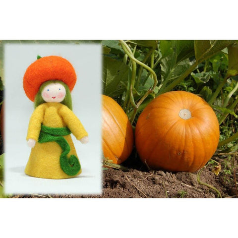 Ambrosius wool felt doll pumpkin girl-people, animals & lands-Ambrosius-Dilly Dally Kids