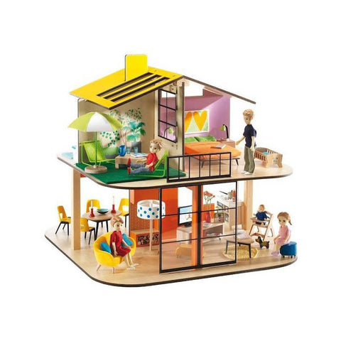 Djeco colour modern doll house-people, animals & lands-Djeco-Dilly Dally Kids
