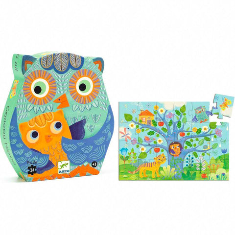 Djeco hello owl 24 piece puzzle-puzzles-Djeco-Dilly Dally Kids