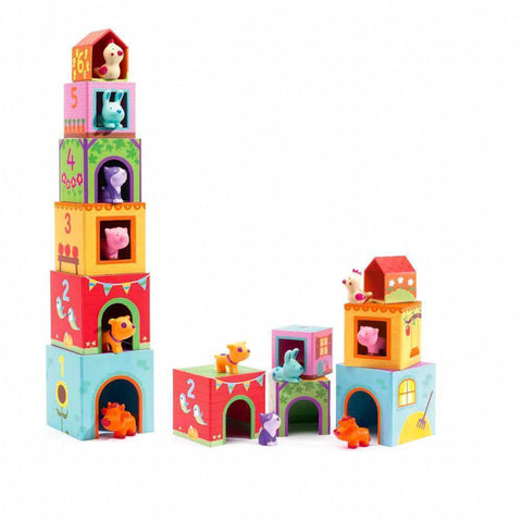 Djeco topanifarm blocks and animal figures-blocks & building sets-Djeco-Dilly Dally Kids