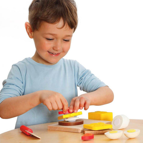 Erzi wooden sandwich cutting set-pretend play-Fire the Imagination-Dilly Dally Kids