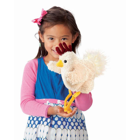 Folkmanis funky chicken puppet-puppets, stuffies & dolls-Fire the Imagination-Dilly Dally Kids