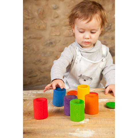 Grapat 6 coloured wood cups with lids-blocks & building sets-Fire the Imagination-Dilly Dally Kids