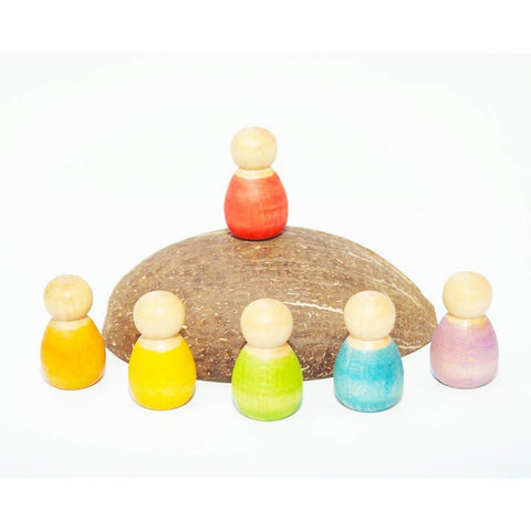 Grapat 6 wood coloured baby nins with coconut shell-blocks & building sets-Grapat-Dilly Dally Kids
