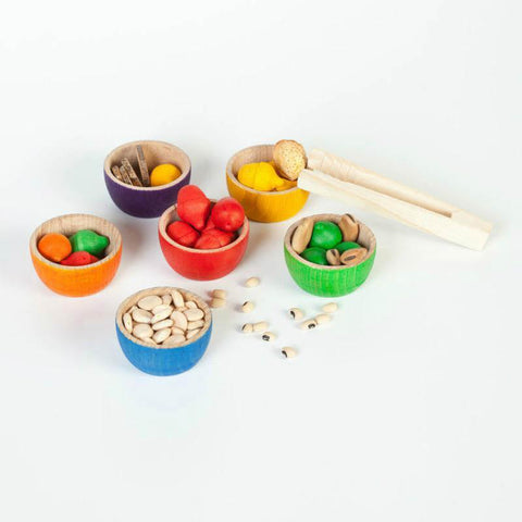 Grapat coloured bowls and acorns with tongs-blocks & building sets-Grapat-Dilly Dally Kids