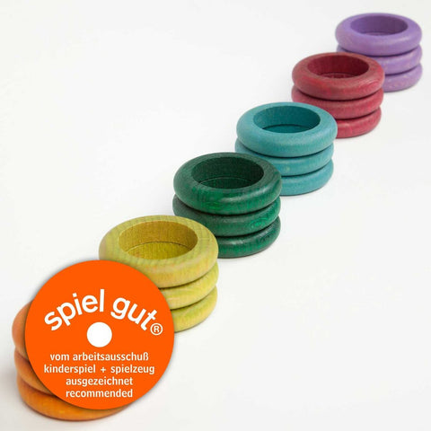 Grapat loose parts rings 18 pieces pastel