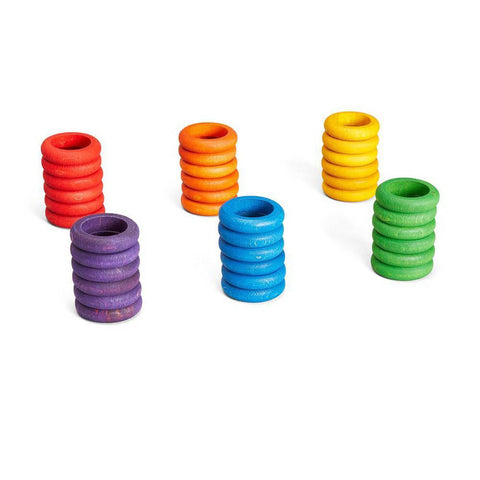 Grapat wood coloured rings 36 pieces-blocks & building sets-Grapat-Dilly Dally Kids
