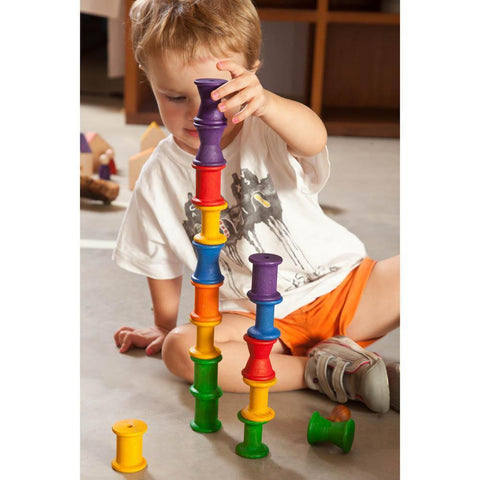 Grapat wood coloured spools - 18 pieces-blocks & building sets-Fire the Imagination-Dilly Dally Kids
