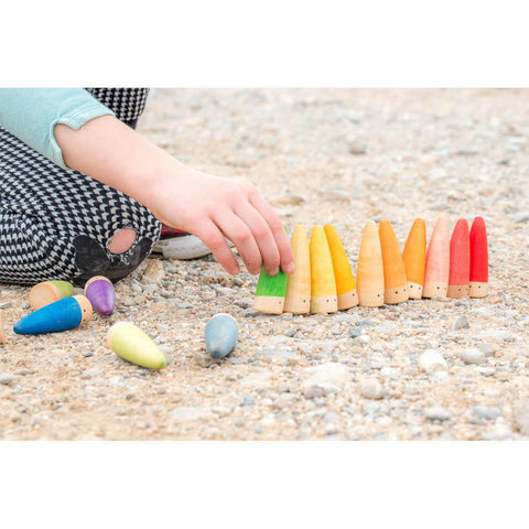 Grapat wood coloured stick gnomes 18 pcs-blocks & building sets-Grapat-Dilly Dally Kids