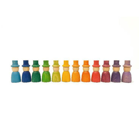 Grapat wood coloured wizard nins with hats 12 pieces-blocks & building sets-Grapat-Dilly Dally Kids