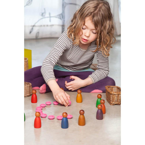 Grapat wood dark cold colour nins 3 pieces-blocks & building sets-Grapat-Dilly Dally Kids