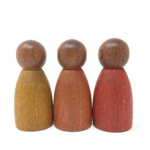 Grapat wood dark warm colour nins 3 pieces-blocks & building sets-Grapat-Dilly Dally Kids