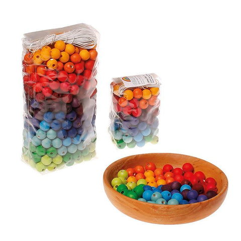 Grimm's 120 wooden beads multi-coloured - 12mm-blocks & building sets-Fire the Imagination-Dilly Dally Kids