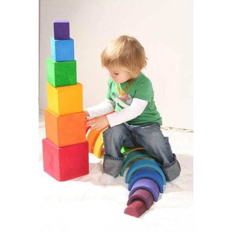 Grimm's large rainbow stacking boxes-blocks & building sets-Fire the Imagination-Dilly Dally Kids
