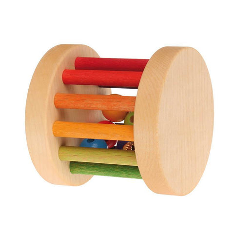 Grimm's mini rolling wheel with bells - rainbow-baby-Fire the Imagination-Dilly Dally Kids