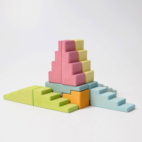 Grimm's pastel stepped roof blocks-blocks & building sets-Fire the Imagination-Dilly Dally Kids