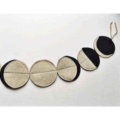 handmade felt moon phases garland - black-decor-Emerald and Ginger-Dilly Dally Kids