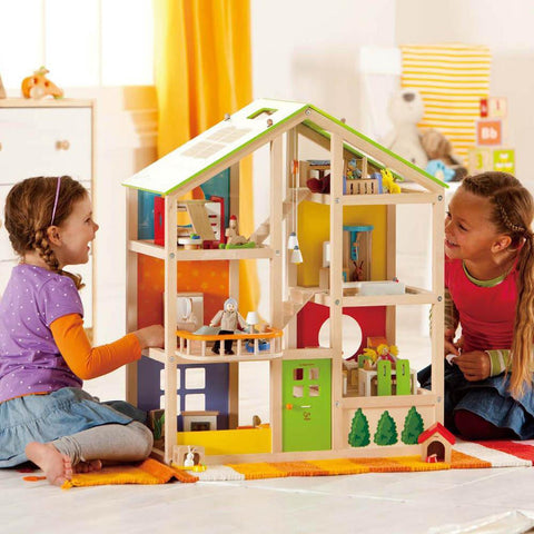 Hape all season dollhouse with furniture