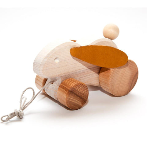 heirloom pull along rabbit-toddler vehicles-Wooden Frog-Dilly Dally Kids