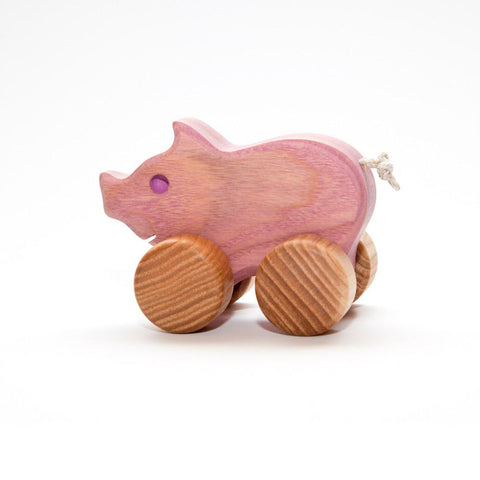heirloom small piglet-toddler vehicles-Wooden Frog-Dilly Dally Kids