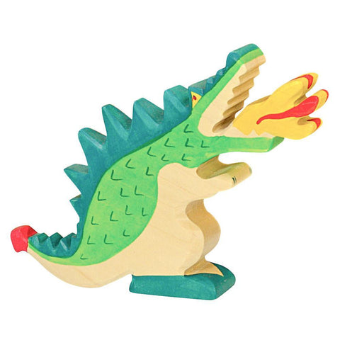 wooden green dragon-figures-Holztiger-Dilly Dally Kids