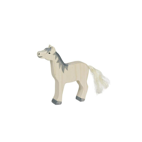 Holztiger grey mane horse with head raised