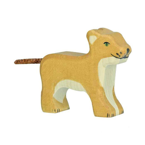 wooden lion cub-figures-Holztiger-Dilly Dally Kids