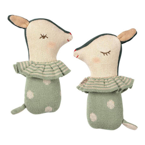 Maileg bambi rattle - dusty mint-puppets, stuffies & dolls-Maileg-Dilly Dally Kids