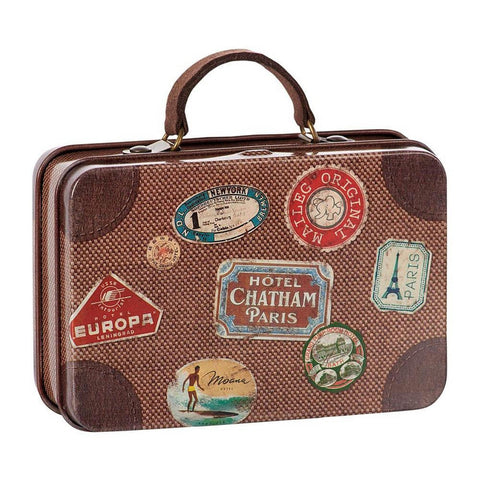 Maileg brown travel suitcase-puppets, stuffies & dolls-Maileg-Dilly Dally Kids