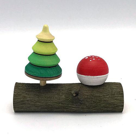 mushroom and tree top on log-pocket money-mader / premier kites-Dilly Dally Kids