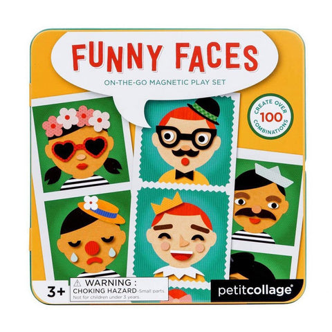 petit collage funny faces on the go magnetic play set-arts & crafts-Petit Collage-Dilly Dally Kids
