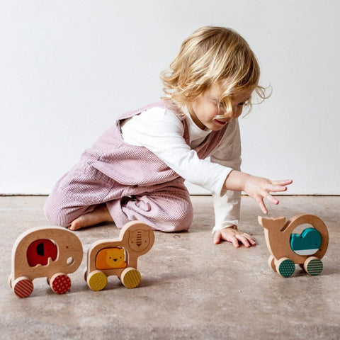 Petit Collage wooden lion push along-cars, boats, planes & trains-Petit Collage-Dilly Dally Kids