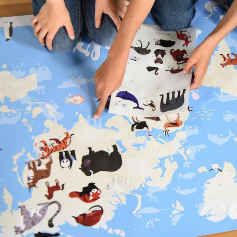 poppik sticker discovery poster animals of the world