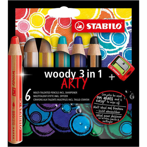 Stabilo 3 in 1 crayon pencils with sharpener - 6 pack-arts & crafts-Quo Vadis-Dilly Dally Kids
