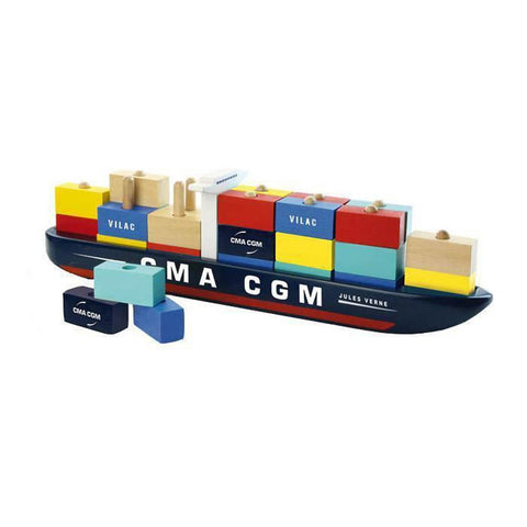 Vilac container ship-cars, boats, planes & trains-Fire the Imagination-Dilly Dally Kids