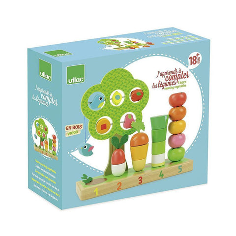 Vilac counting vegetables stacking toy-baby-Fire the Imagination-Dilly Dally Kids