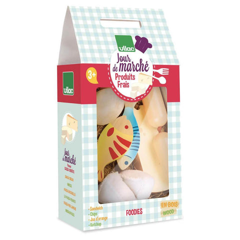 Vilac fish, ham, and cheese play food set-pretend play-Fire the Imagination-Dilly Dally Kids
