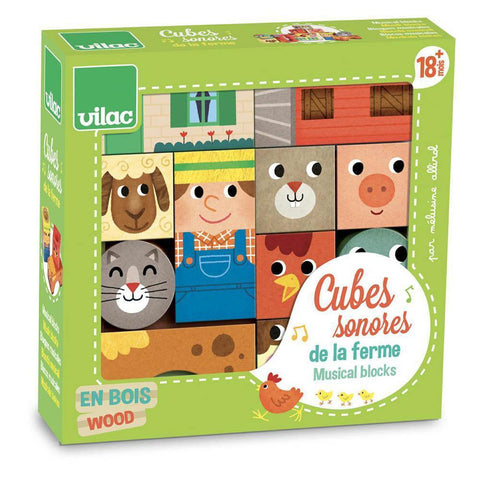 Vilac musical farm blocks set-blocks & building sets-Fire the Imagination-Dilly Dally Kids