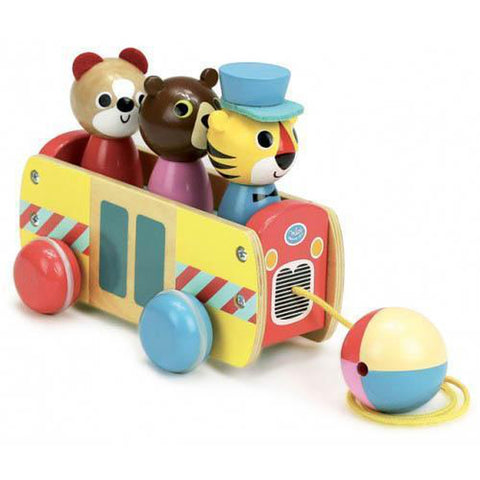 Vilac pull along animal bus-cars, boats, planes & trains-Fire the Imagination-Dilly Dally Kids