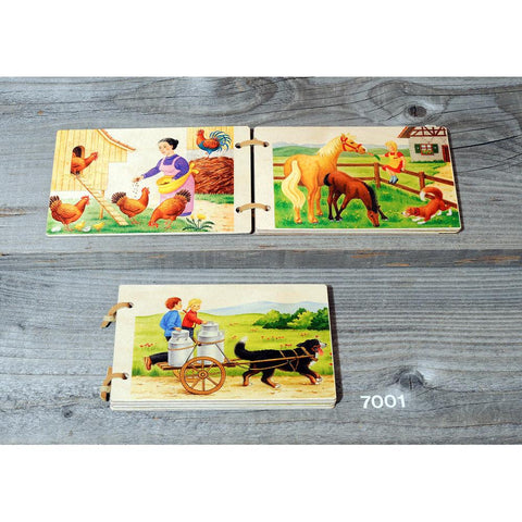 wooden farm book-books-Atelier Fischer Wooden Toys-Dilly Dally Kids