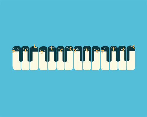 Penguins Piano - Art print