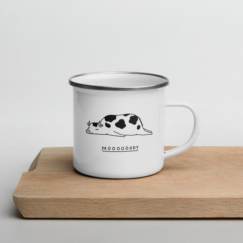 The Moody Animals: Cow - Enamel Mug